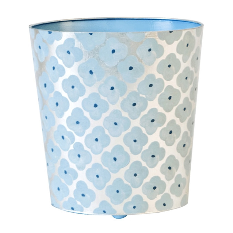Worlds Away Morocco Silver and Blue Wastebasket WBMOROCCOBS