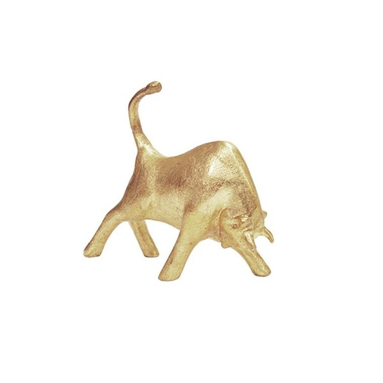 Worlds Away Nero Bull Sculpture in Gold Leaf NERO G