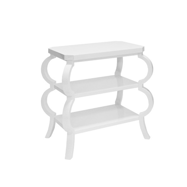 Worlds Away Olive Three Tier Side Table in White Lacquer OLIVE WH