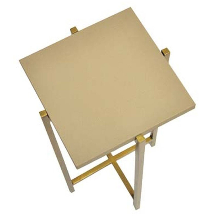 Worlds Away Ollie Antique Brass Cigar Side Table with Beige Faux Shagreen Square Top OLLIE BS