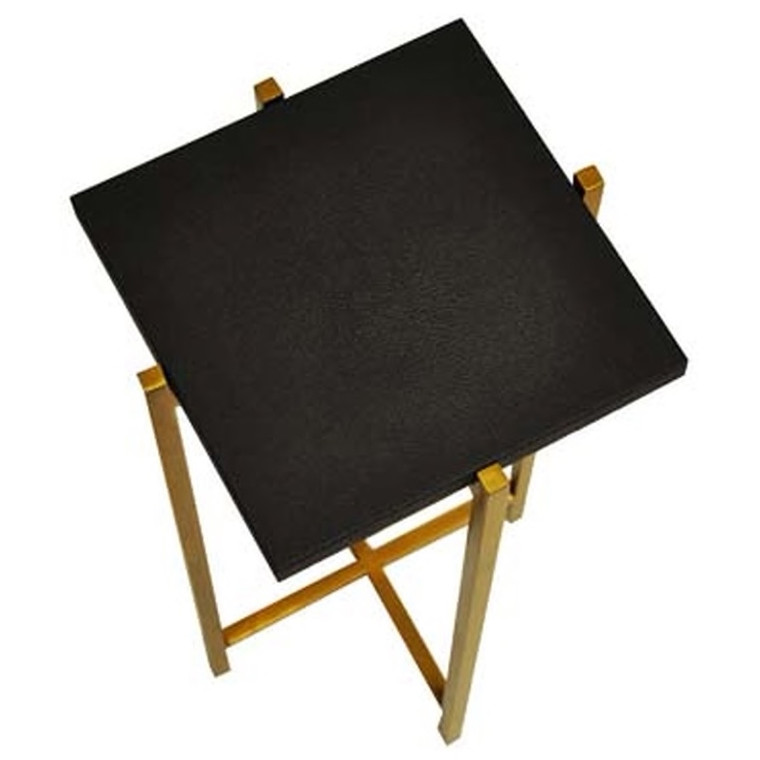 Worlds Away Ollie Antique Brass Cigar Side Table with Black Faux Shagreen Square Top OLLIE BLS