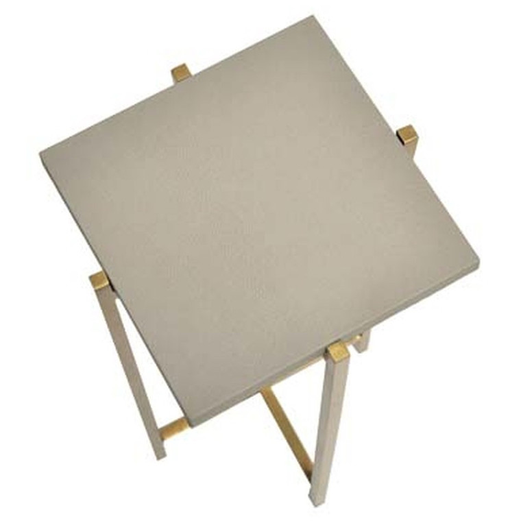 Worlds Away Ollie Antique Brass Cigar Side Table with Grey Faux Shagreen Square Top OLLIE GS