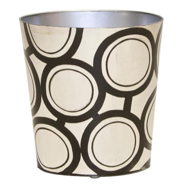 Worlds Away Oval Wastebasket Black and Silver Design WBZEBBS