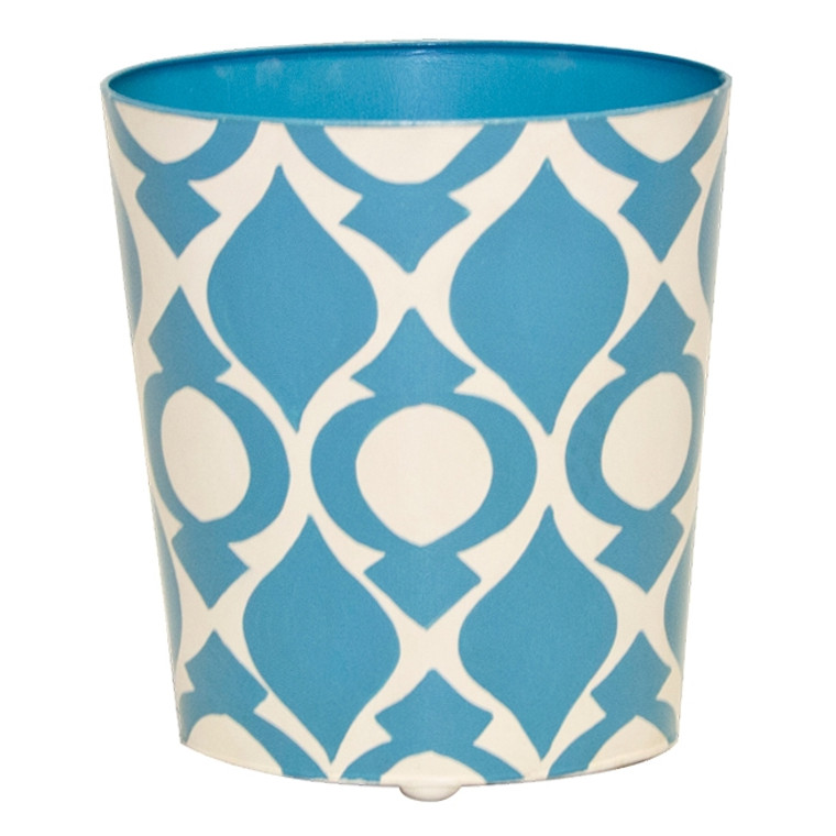 Worlds Away Oval Wastebasket Blue and Cream WBPEA BL