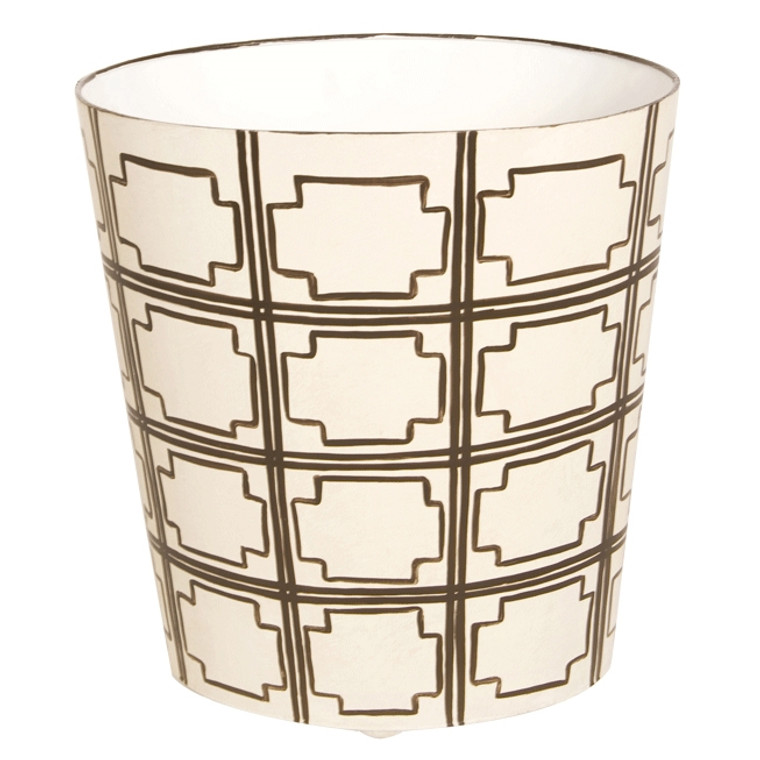 Worlds Away Oval Wastebasket Brown and Off White WBSQUAREDBR