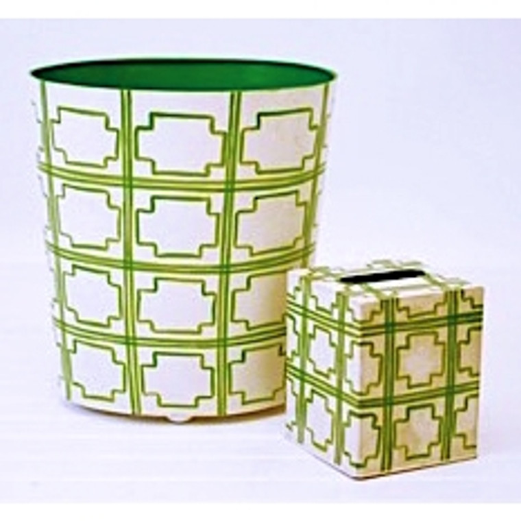 Worlds Away Oval Wastebasket Green and Off White WBSQUAREDGR