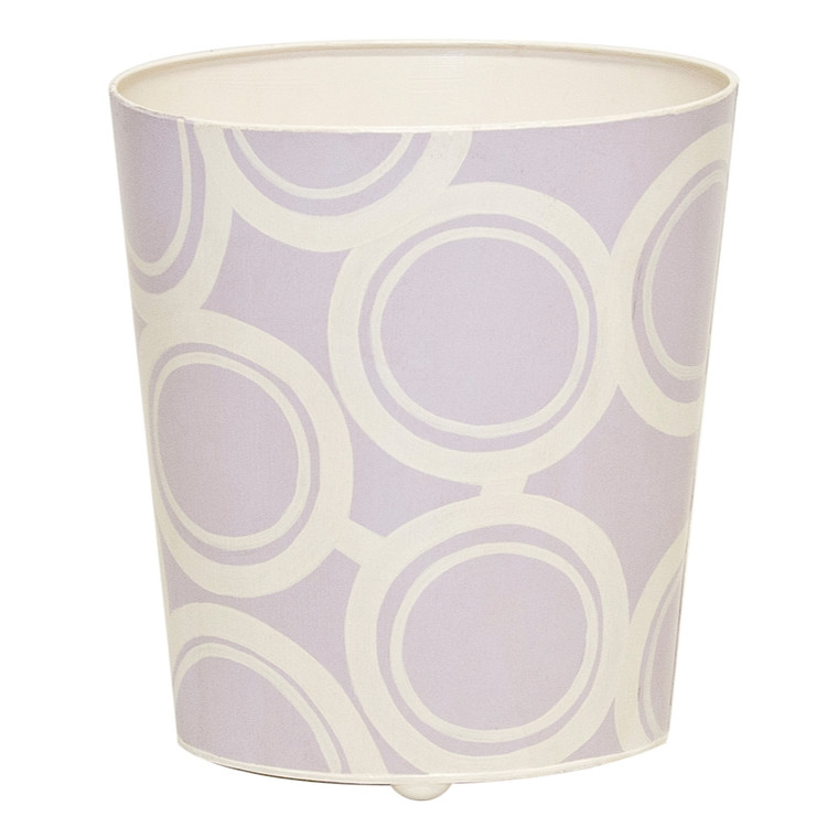 Worlds Away Oval Wastebasket Lavendar and Cream WBZEBBLV
