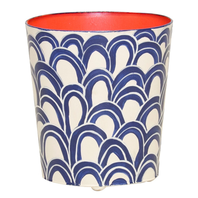 Worlds Away Oval Wastebasket Navy Cream and Orange WBGASTON NVO
