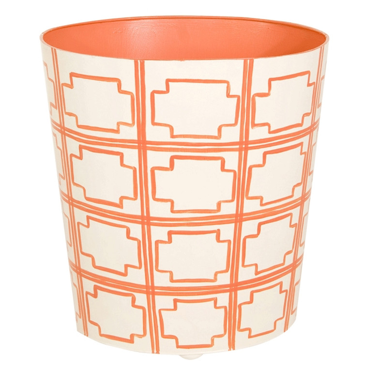 Worlds Away Oval Wastebasket Orange and Off White WBSQUAREDOR