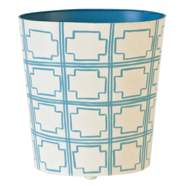 Worlds Away Oval Wastebasket Turquoise and Off White WBSQUAREDT