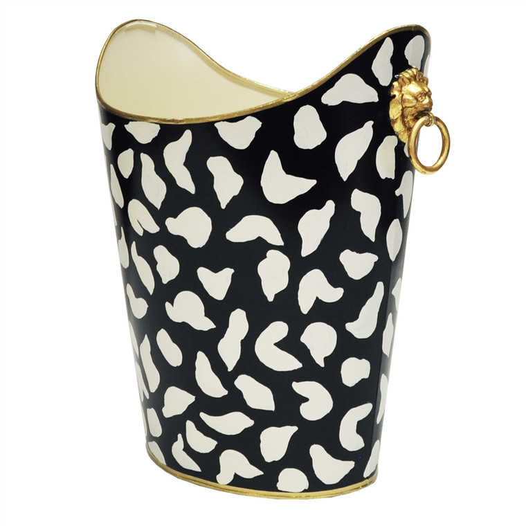 Worlds Away Oval Wastebasket with Raised Ends and Lion Handles in Black Leopard WBLIONOV BLP