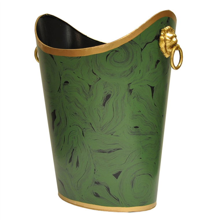 Worlds Away Oval Wastebasket with Raised Ends and Lion Handles in Malachite WBLIONOV MAL