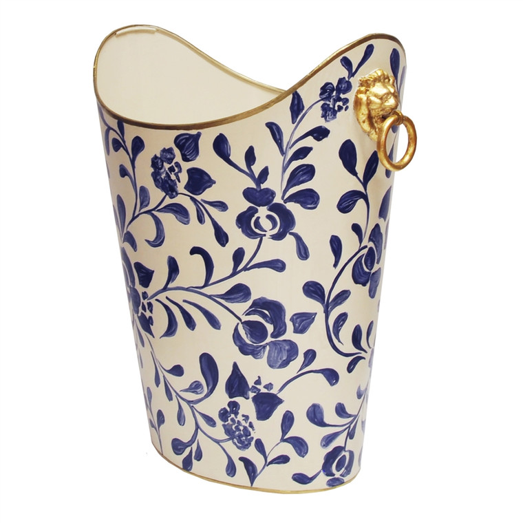 Worlds Away Oval Wastebasket with Raised Ends and Lion Handles in Navy Vine WBLIONOV VINE