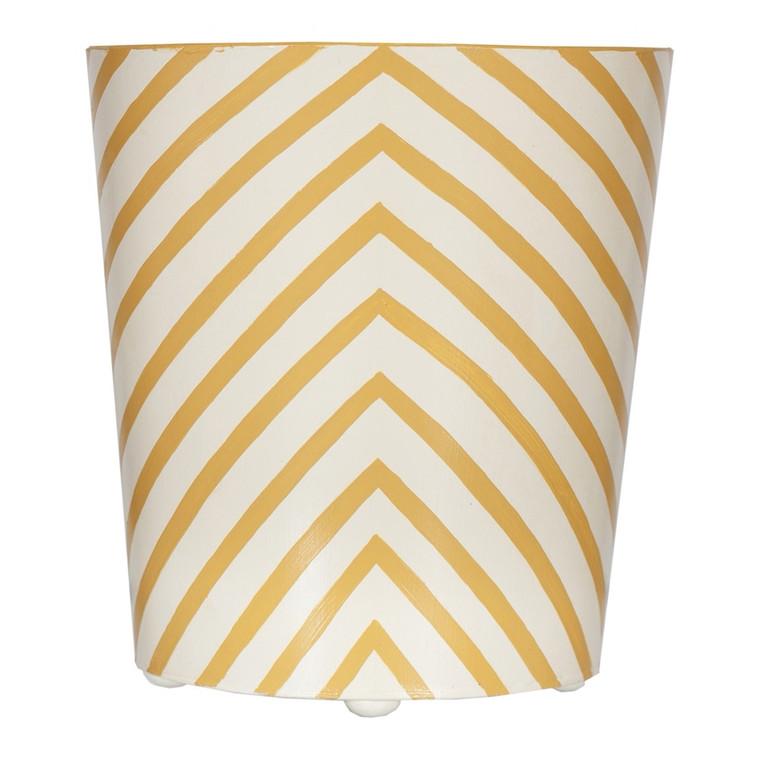 Worlds Away Oval wastebasket yellow and cream zebra