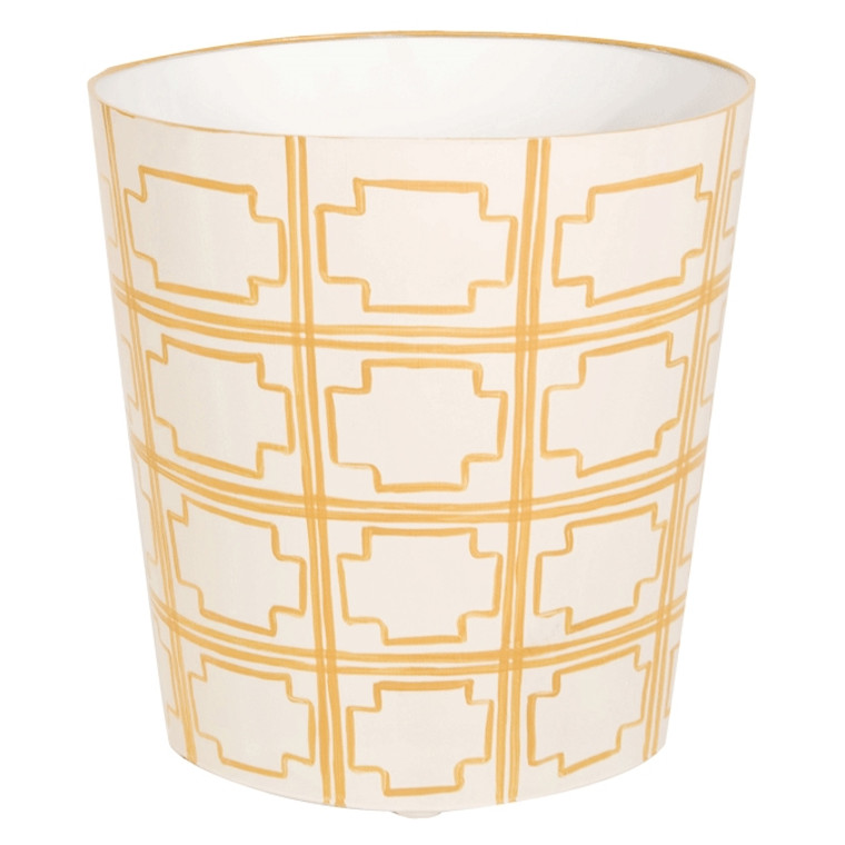 Worlds Away Oval Wastebasket Yellow and Off White WBSQUAREDY