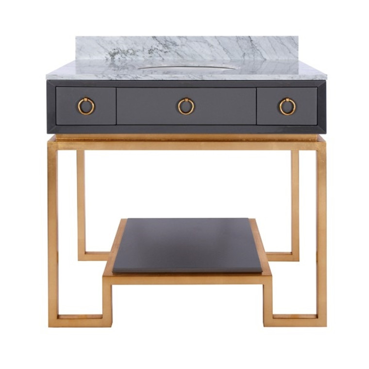 Worlds Away Owen Grey Lacquer Bath Vanity Paired with Gold Leaf Base and Hardware OWEN GRY