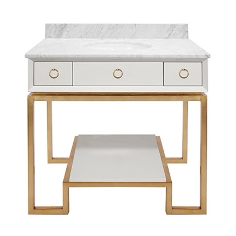 Worlds Away Owen White Lacquer Bath Vanity Paired with Gold Leaf Base and Hardware OWEN WH