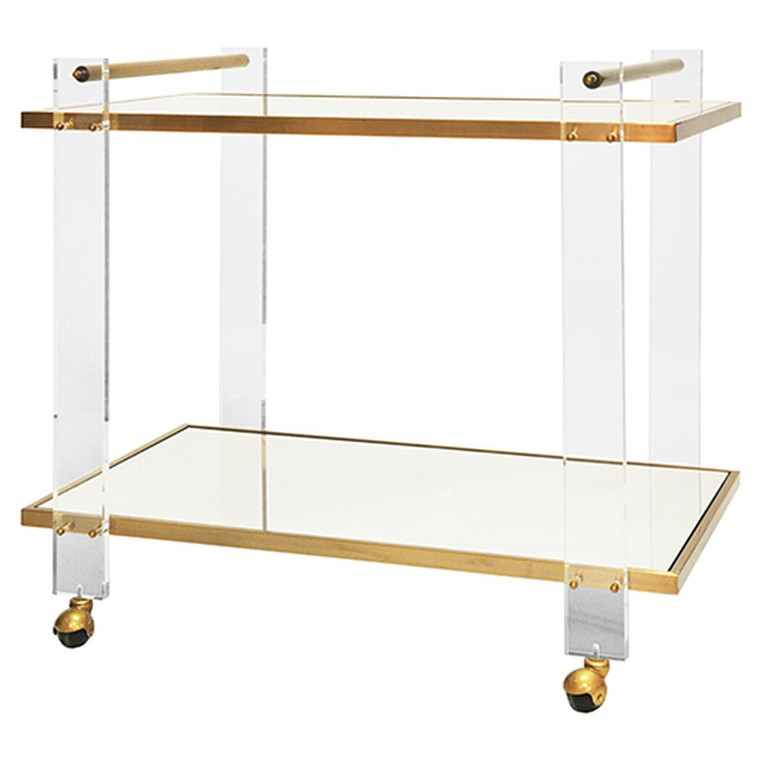 Worlds Away Pierce Acrylic Bar Cart with Inset Mirror and Antique Brass Frame PIERCE ABR