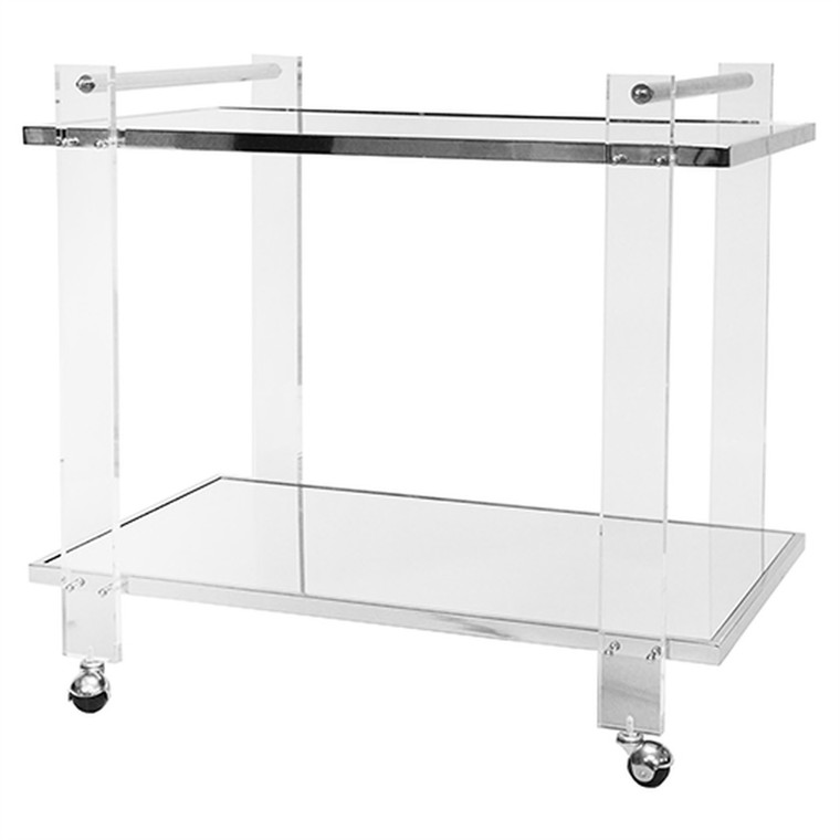 Worlds Away Pierce Acrylic Bar Cart with Inset Mirror and Nickel Frame PIERCE N