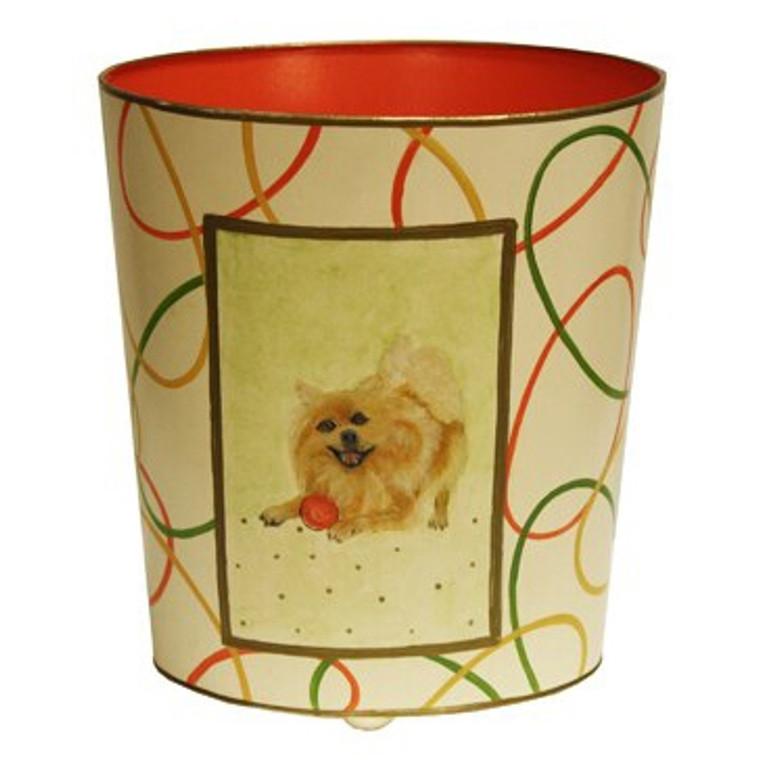 Worlds Away Pomeranian Wastebasket WBPOMERANIAN