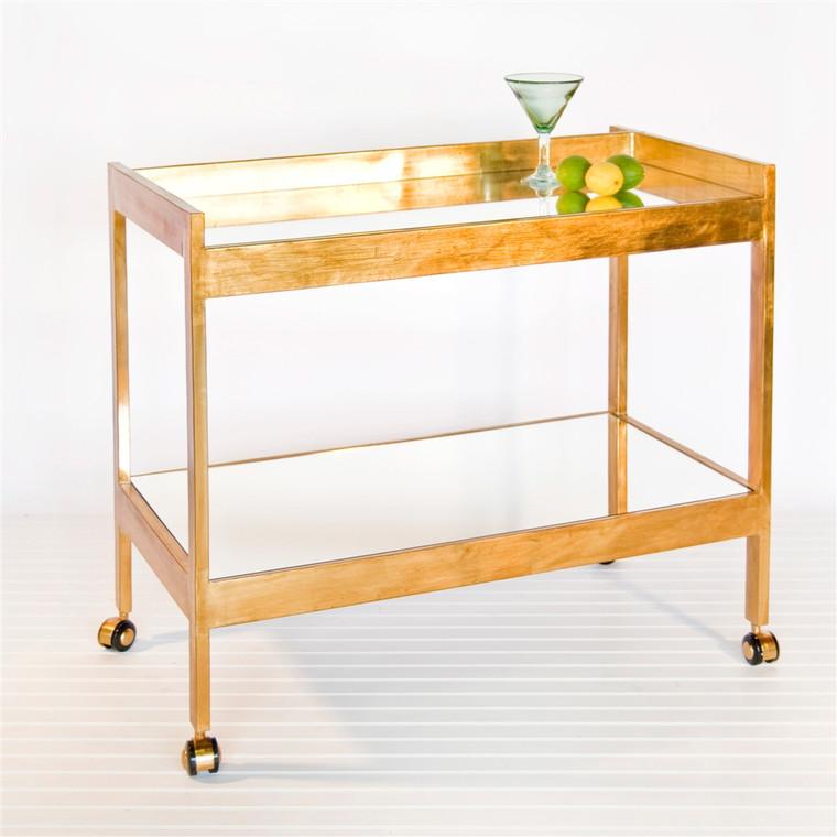 Worlds Away Roland Bar Cart in Gold Leaf with Mirrored Shelf ROLAND G