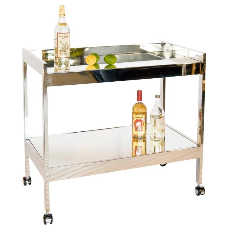 Worlds Away Roland Nickel Plated Bar Cart with Mirrored Shelf ROLAND N