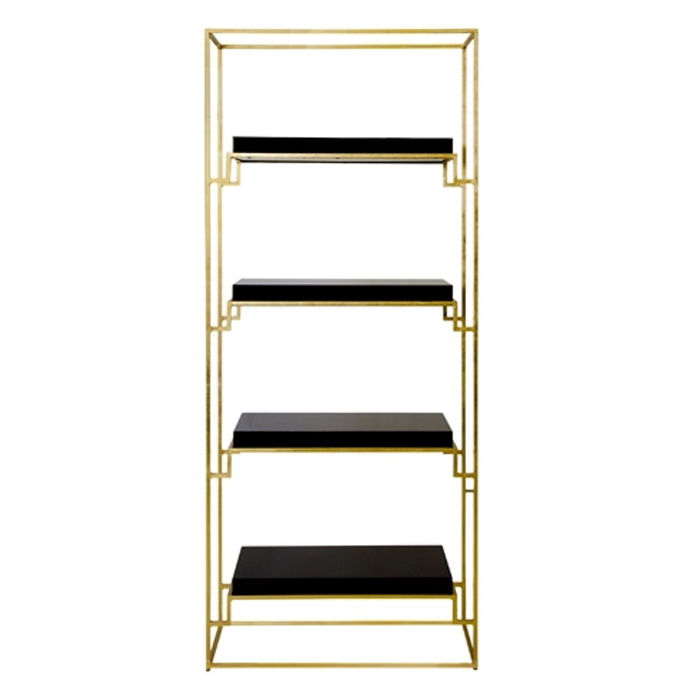 Worlds Away Shadow Gold Leafed Etagere with Black Lacquer Shelves SHADOW BLG