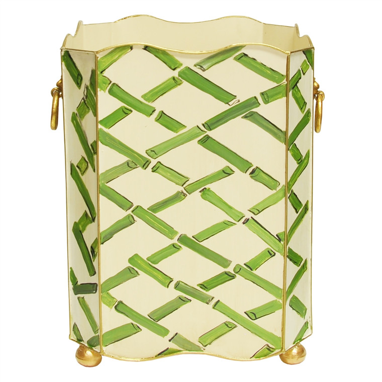 Worlds Away Square Wastebasket with Raised Ends and Lion Handles in Green Bamboo WBLIONSQ BAMGR