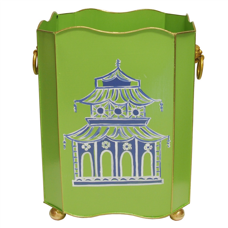 Worlds Away Square Wastebasket with Raised Ends and Lion Handles in Green Pagoda WBLIONSQ PAGGR
