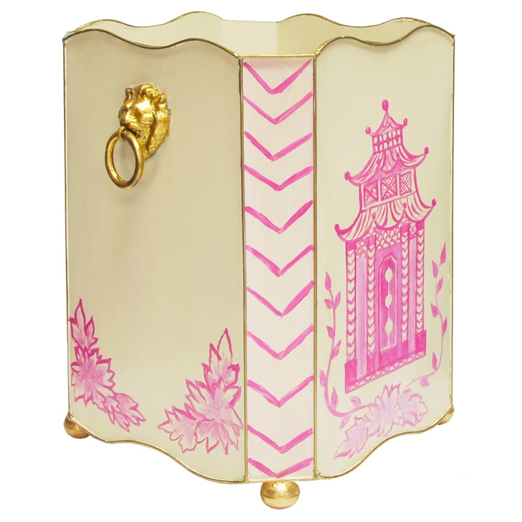 Worlds Away Square Wastebasket with Raised Ends and Lion Handles in Pink Pagoda WBLIONSQ PAGPI