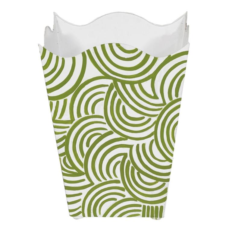 Worlds Away Square Wave Top Wastebasket Hand Painted Design in Green WBWBREAKERGR