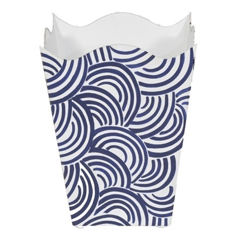 Worlds Away Square Wave Top Wastebasket Hand Painted Design in Navy WBWBREAKERNV