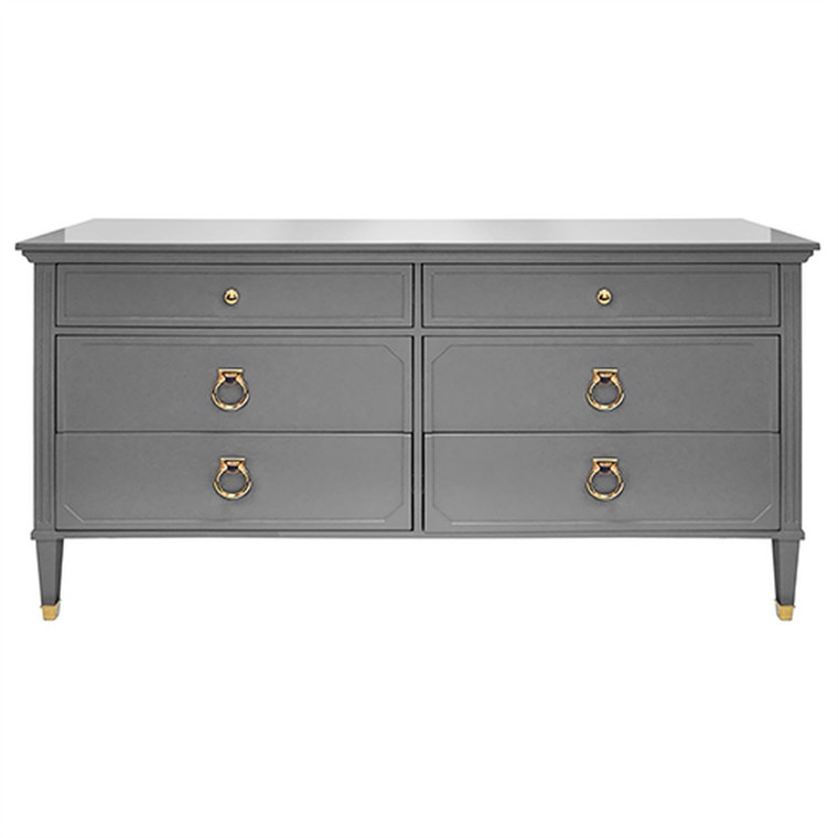 Worlds Away Vincent Six Drawer Chest in Matte Dark Grey Lacquer with Brass Hardware VINCENT GRY