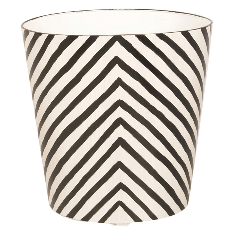 Worlds Away Zebra Print Black and Off White Wastebasket WBZE