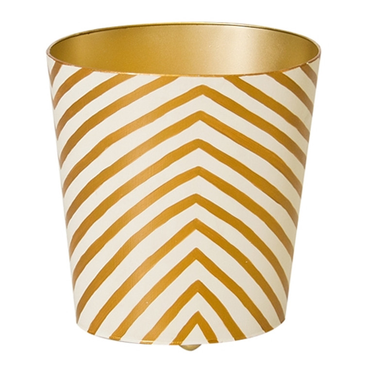 Worlds Away Zebra Print Gold and Cream Wastebasket WBZEGO