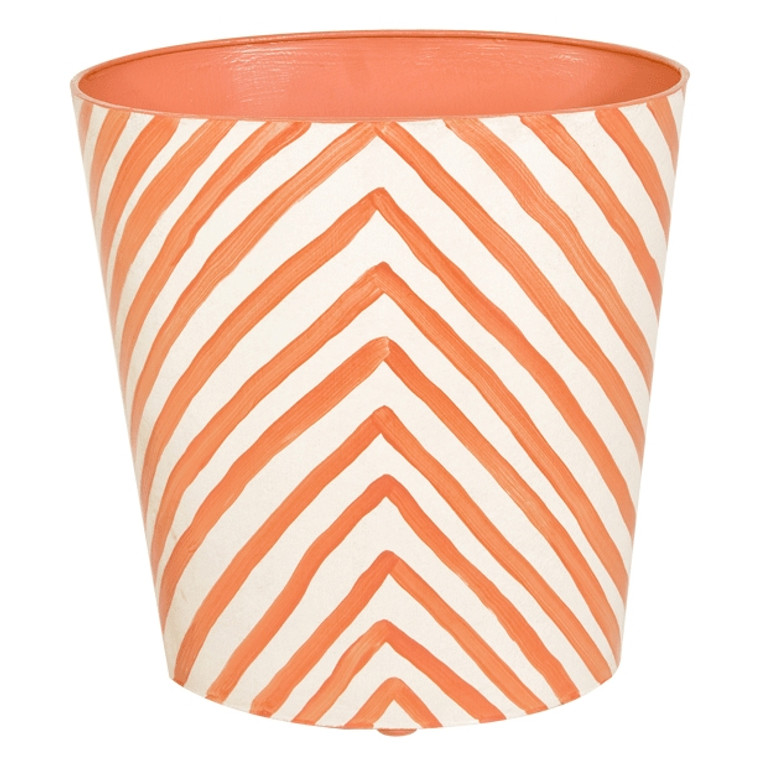 Worlds Away Zebra Print Wastebasket Orange and Off White WBZEO