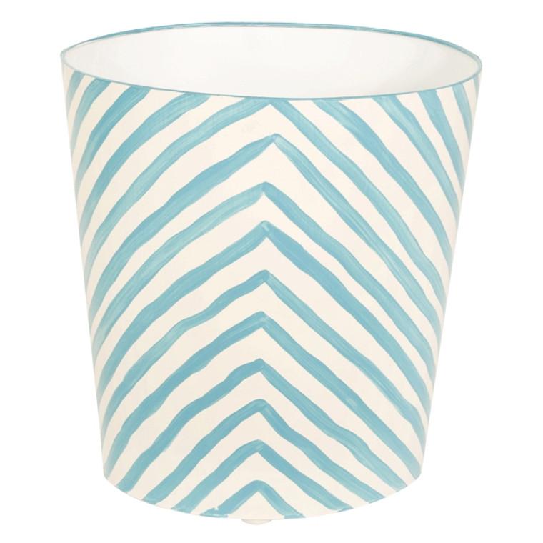 Worlds Away Zebra Print Wastebasket Turquoise and Off White WBZET