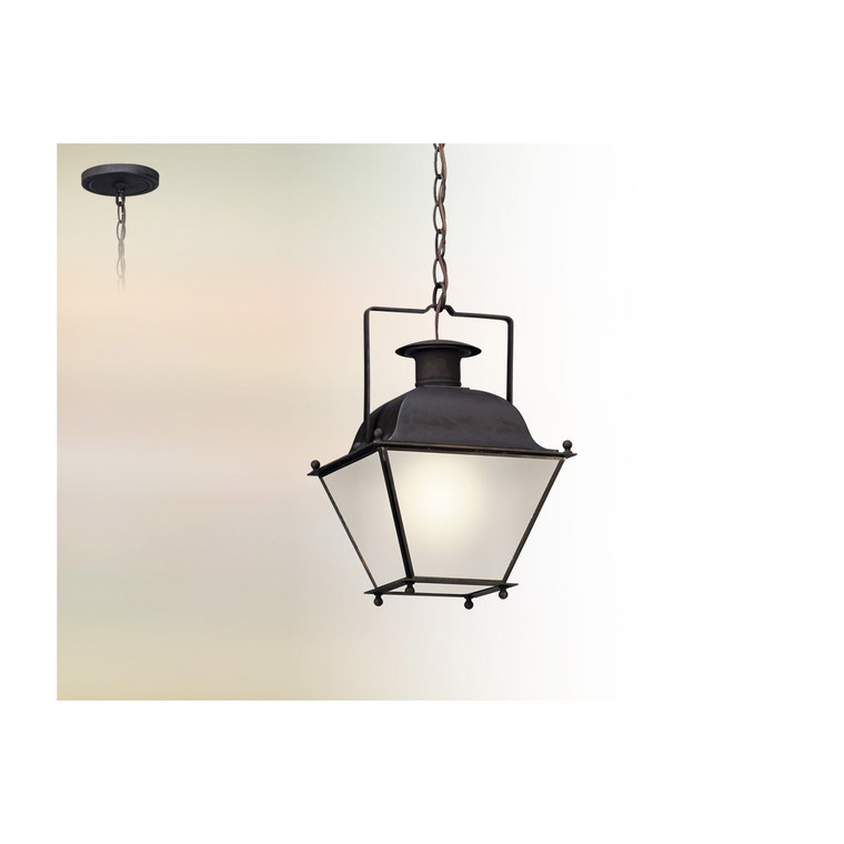 Troy Lighting Wellesley 1 Light Hanger Lantern Led Small in Charred Iron FL5077CI