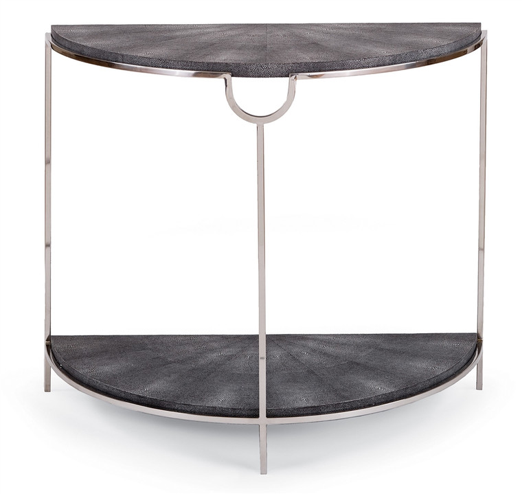 Regina Andrew Vogue Shagreen Demilune Console in Charcoal and Polished Nickel 30-1038CHAR
