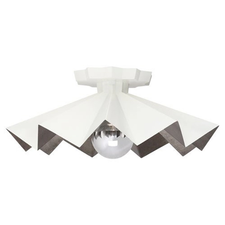 Robert Abbey Rico Espinet Bat Flushmount in Lily Painted Finish WHT70