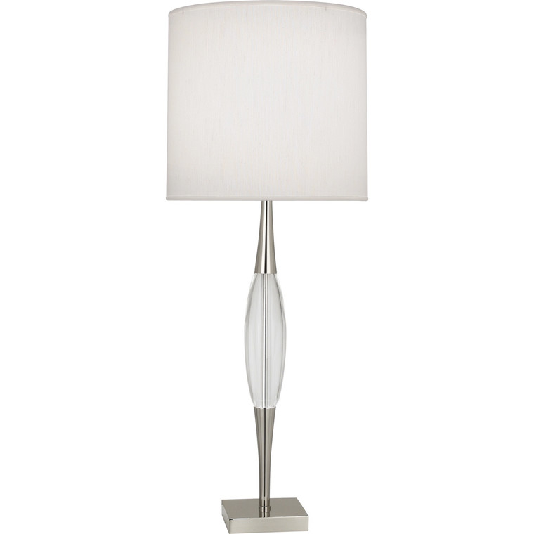 Robert Abbey Juno Table Lamp in Polished Nickel Finish w/ Clear Glass Accent S207