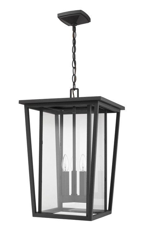 Z-Lite Seoul Outdoor Chain Mount Ceiling Fixture in Black 571CHXL-BK