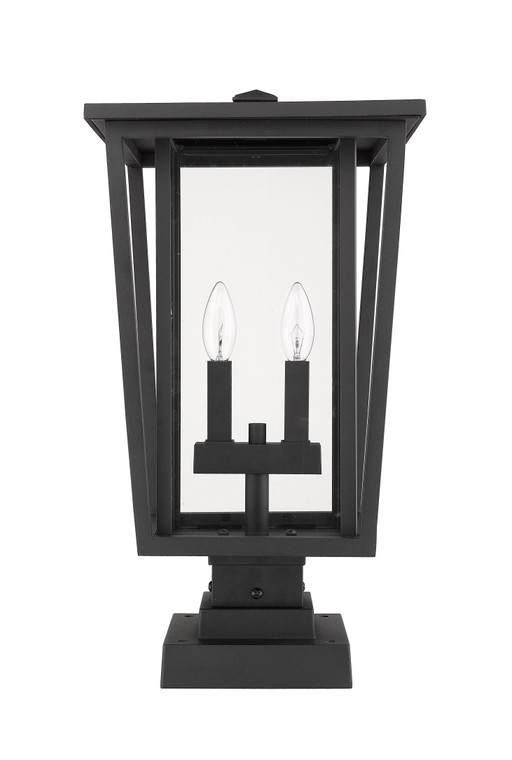 Z-Lite Seoul Outdoor Pier Mounted Fixture in Black 571PHBS-SQPM-BK