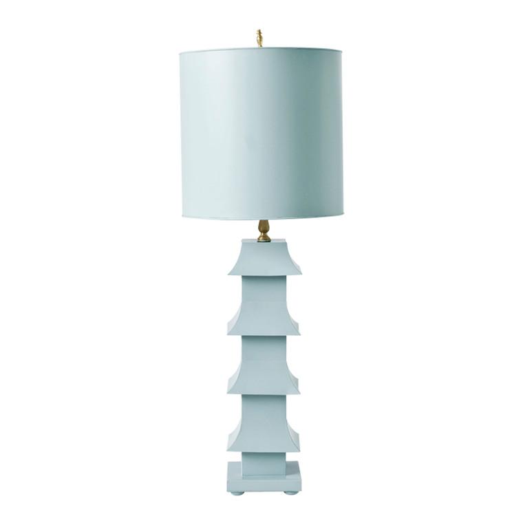 Worlds Away Pagoda Powder Blue Table Lamp LMPHB