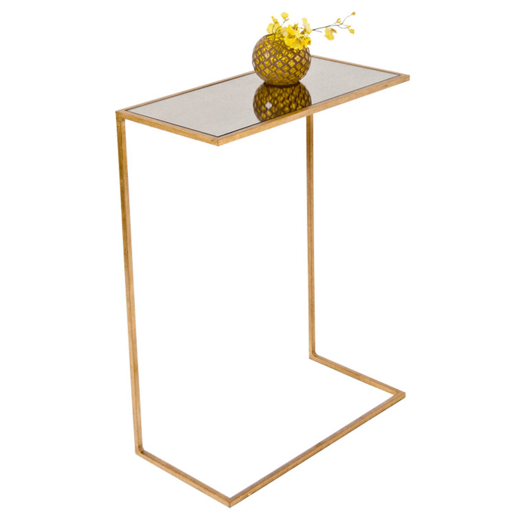 Worlds Away Rico Side Table in Gold Leaf RICO