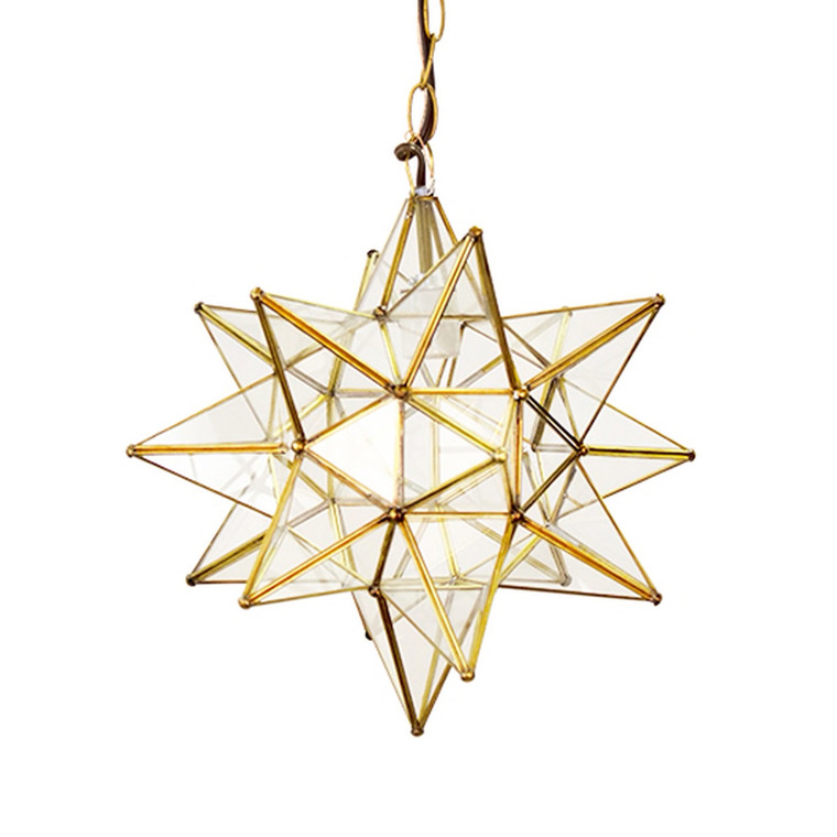 Worlds Away Moravian Star 20 inch Pendant Chandelier Large Clear Glass and Brass ACS112BR