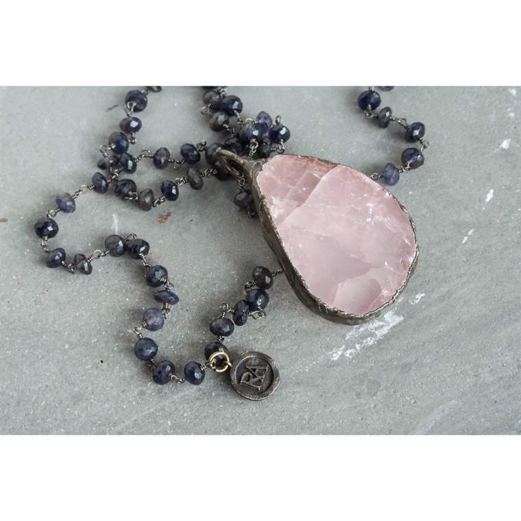 Regina Andrew Faith Necklace Iolite Rose Quartz 67-01-0050V