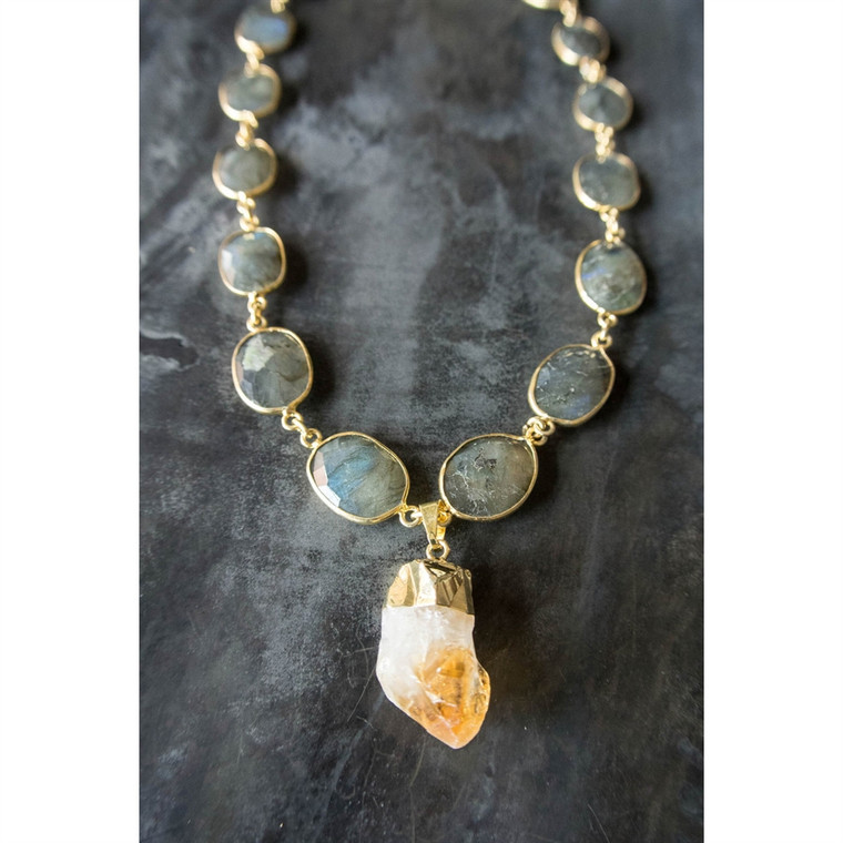 Regina Andrew Posy Necklace Labradorite Citrine Point 67-02-0017M