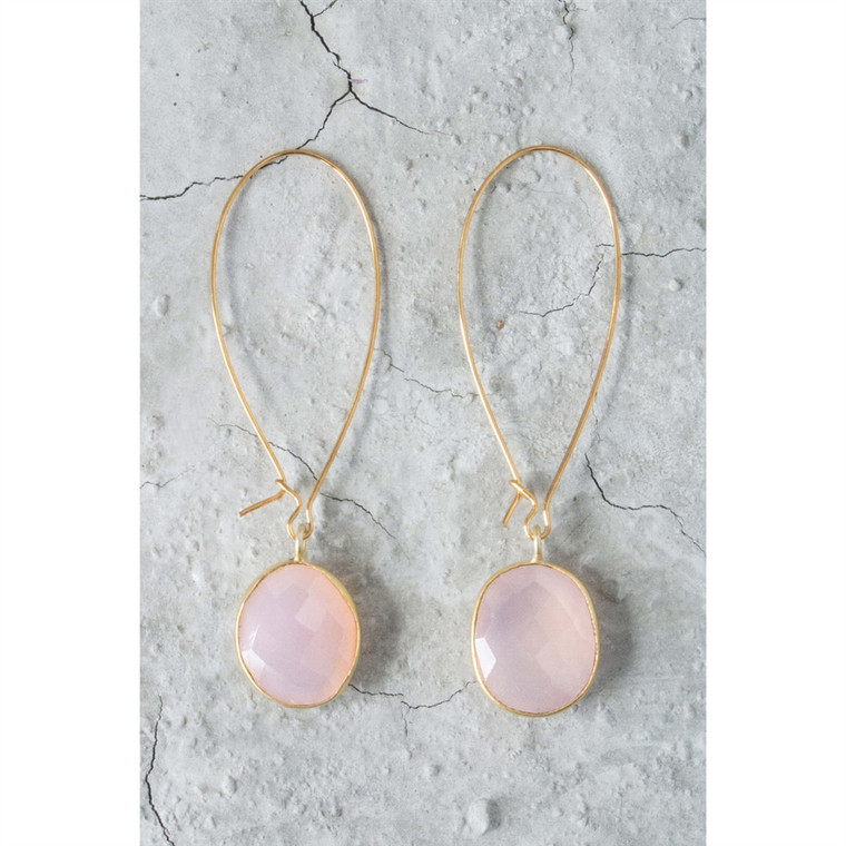 Regina Andrew Adele Earrings Pink Calcy Bezel (Gold) 67-06-0007M