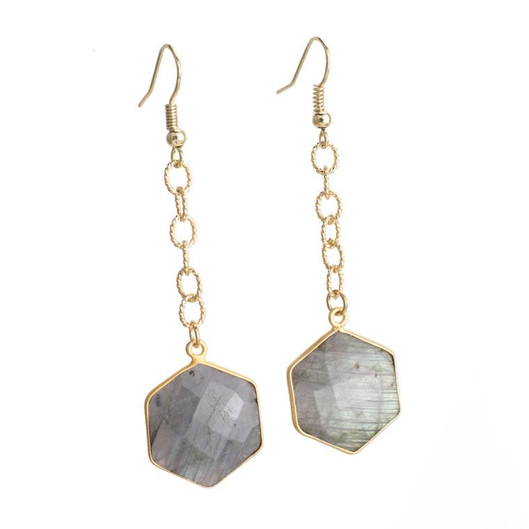 Regina Andrew Lucille Earrings Labradorite Hexagon (Gold) 67-06-0115M